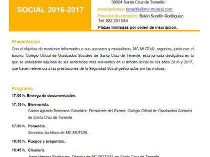 """Jornada """"Jurisprudencia en el Ámbito Social 2016-2017"""""""