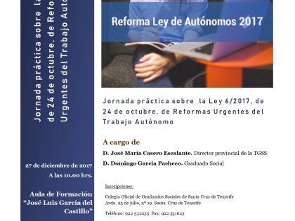 Jornada práctica sobre  la Ley 6/2017, de 24 de octubre, de Reformas Urgentes del Trabajo Autónomo