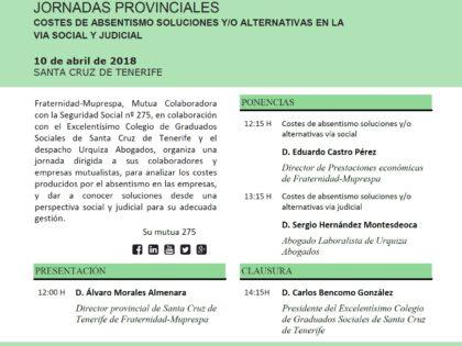 """Jornada """"Costes de absentismo; Soluciones y/o alternativas en la vía Social y Judicial"""""""